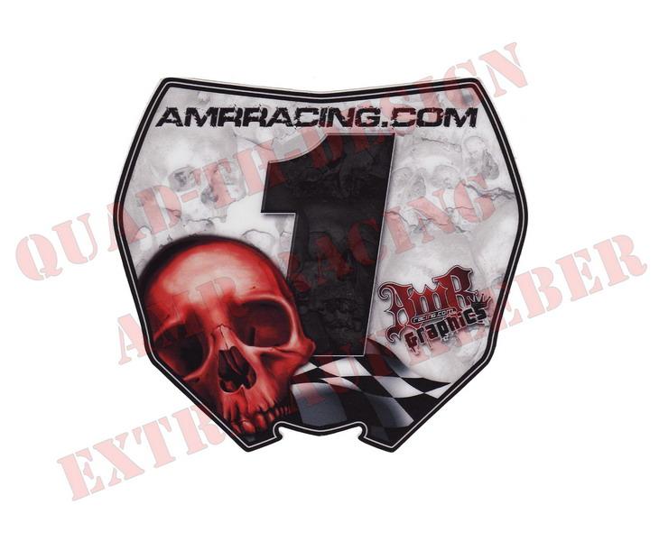 AMR Racing Aufkleber Checkered Skull