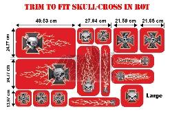 Trim to Fit Universal Skull-Cross Dekorsatz Große Ausführung