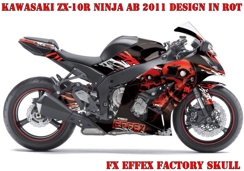 Sonderpreis: FX - Factory Skull in Rot für Kawasaki Ninja 250 08-15