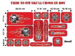 Trim to Fit Universal Skull-Cross Dekorsatz Kleine Ausführung