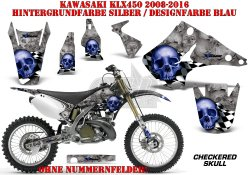 Checkered Skull für Kawasaki MX Motocross Bikes